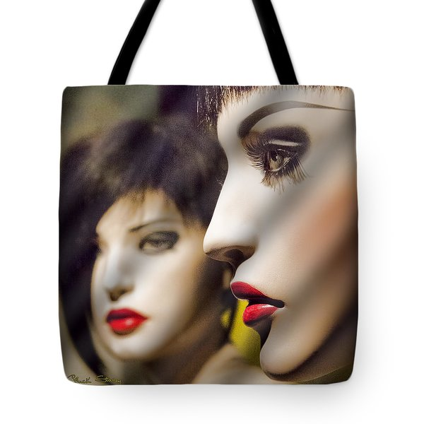 Red Lips - Black Heart Tote Bag