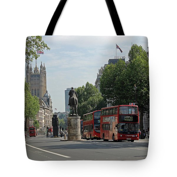 Red London Bus In Whitehall Tote Bag