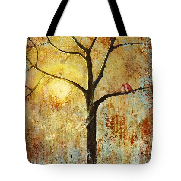 Red Love Birds In A Tree Tote Bag