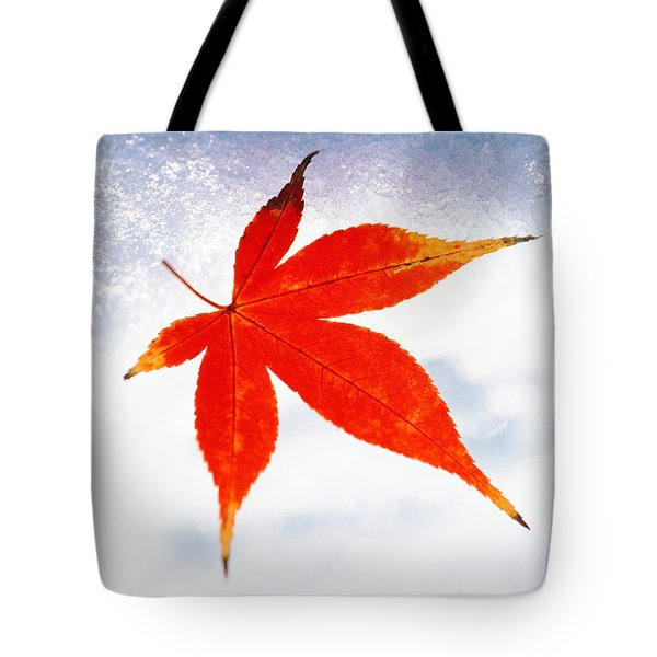 Red Maple Leaf Against White Background Tote Bag