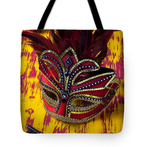 Red Mask And Key Tote Bag