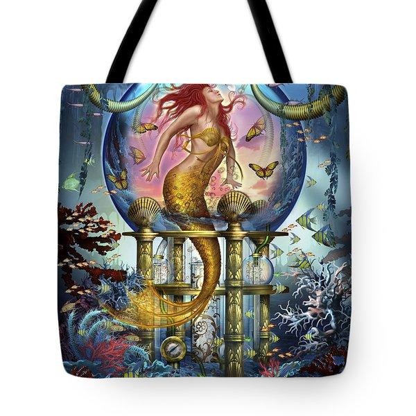 Red Mermaid Tote Bag by Ciro Marchetti