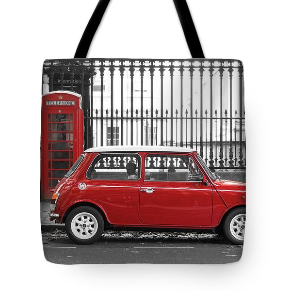 Red Mini Cooper In London Tote Bag
