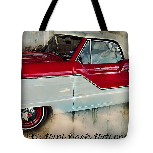 Red Mini Nash Vintage Car Tote Bag by Peggy Franz