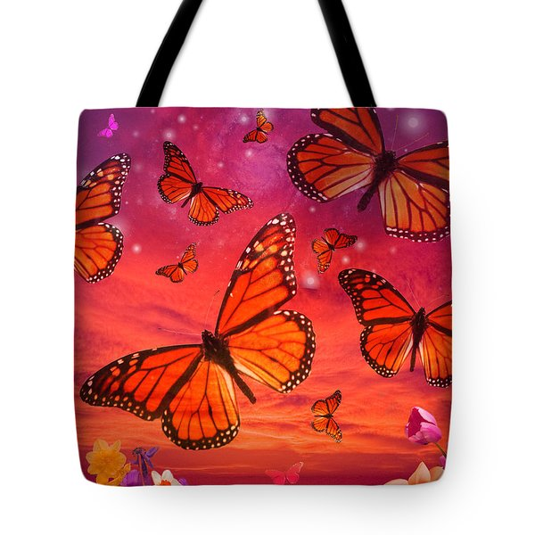 Red Monarch Sunrise Tote Bag by Alixandra Mullins