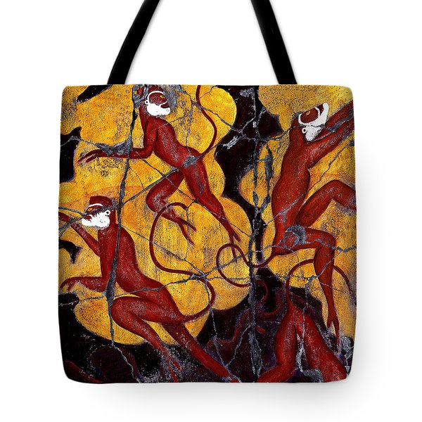 Red Monkeys No. 3 - Study No. 1 Tote Bag