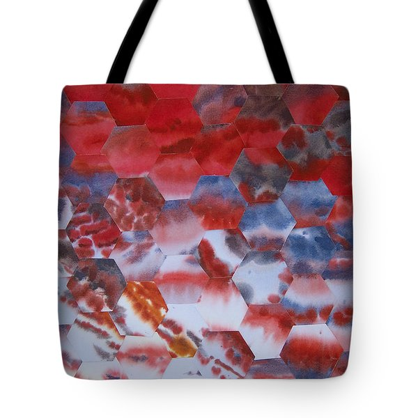 Red Morning With Two Ducks Tote Bag by Jeni Bate