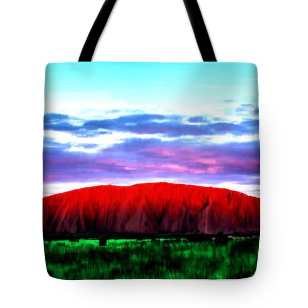 Tote Bag featuring the painting Red Mountain Sunset by Bruce Nutting