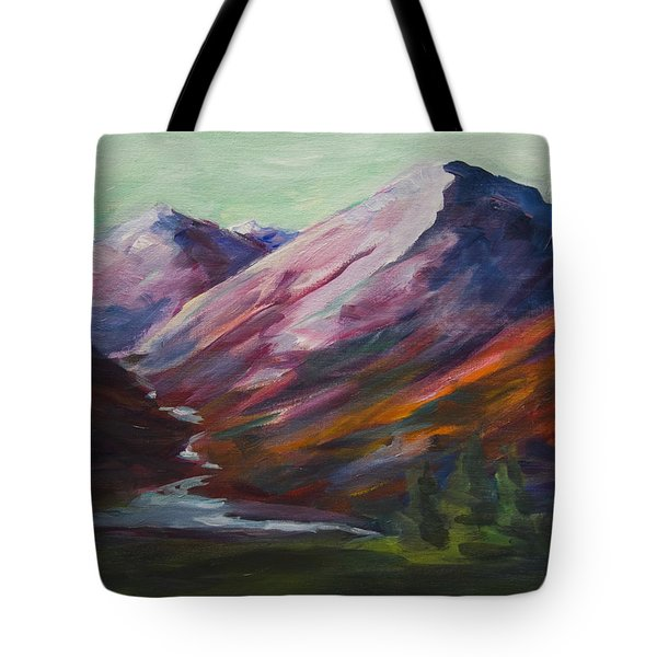 Red Mountain Surreal Mountain Lanscape Tote Bag