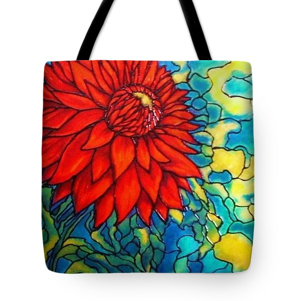 Tote Bag featuring the painting Red Mums by Rae Chichilnitsky