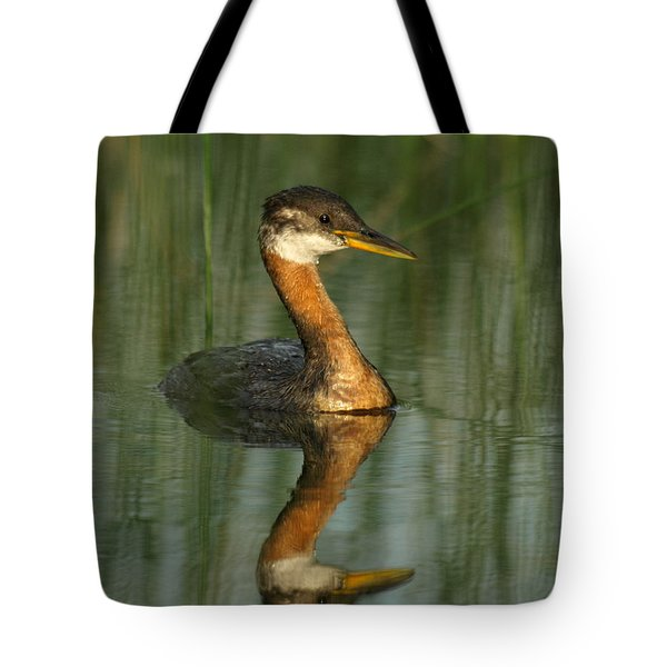 Tote Bag featuring the photograph Red-necked Grebe by James Peterson