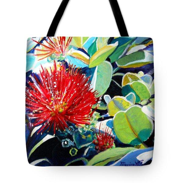 Red Ohia Lehua Flower Tote Bag