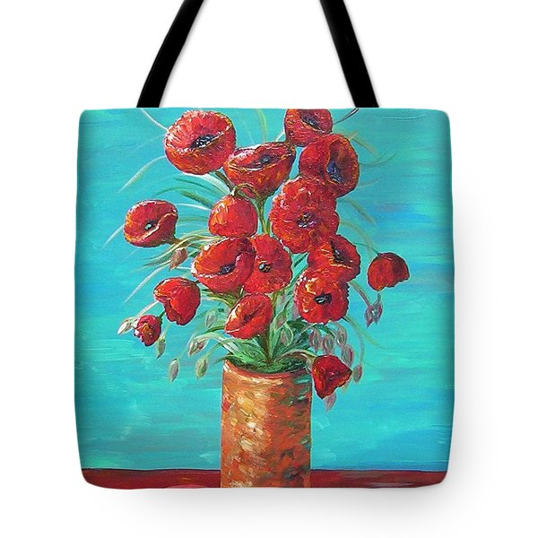 Tote Bag featuring the painting Red On My Table  by Eloise Schneider