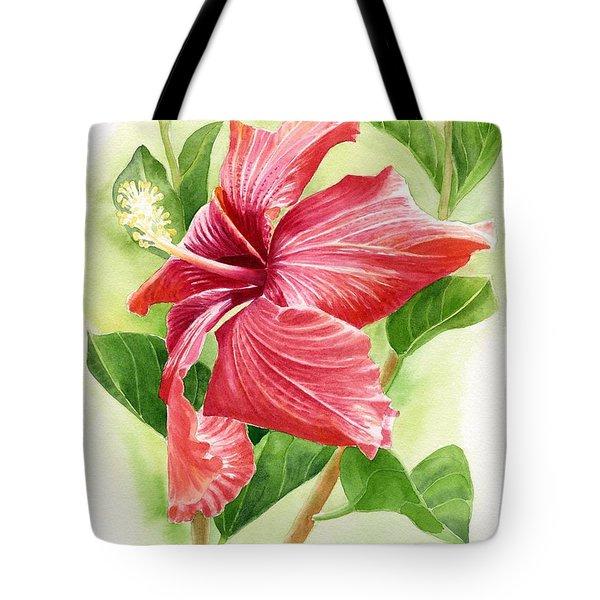 Red Orange Hibiscus Tote Bag
