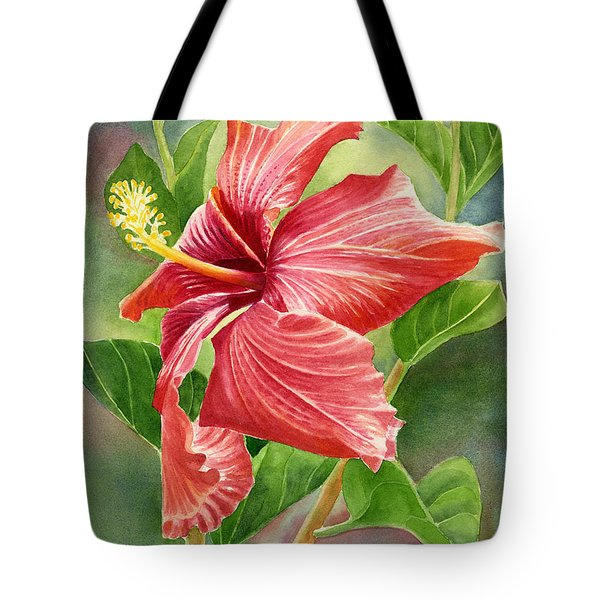 Red Orange Hibiscus With Background Tote Bag