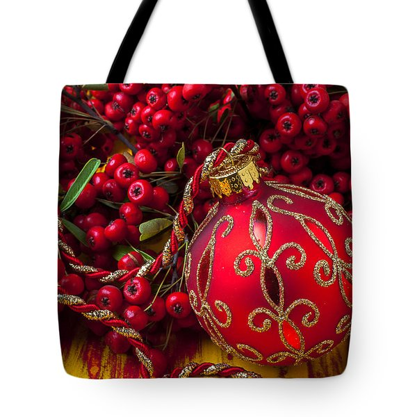 Red Ornament And Berries Tote Bag