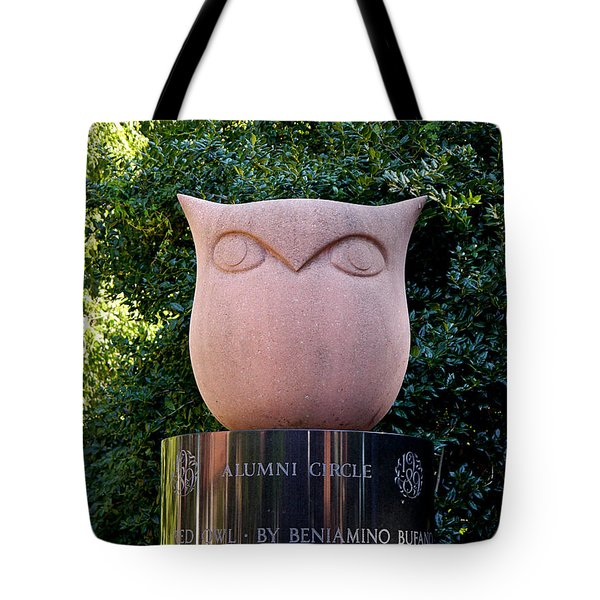 Red Owl At Temple Tote Bag by Richard Reeve