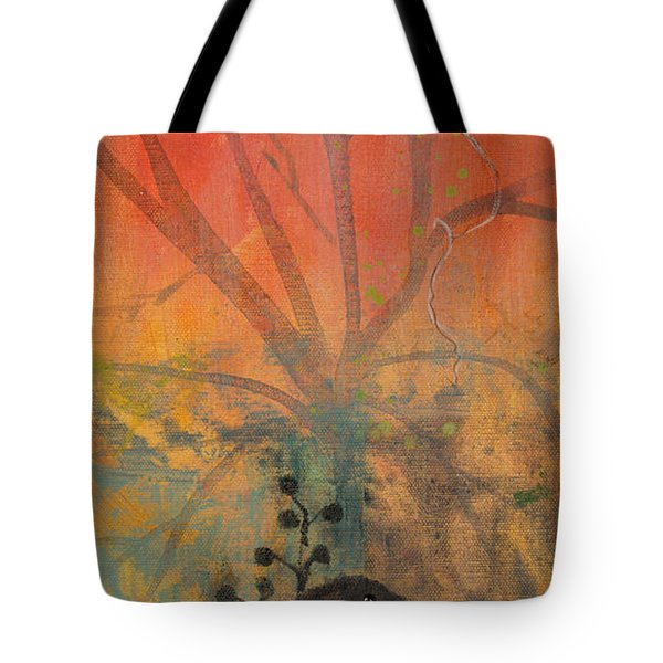 Tote Bag featuring the painting Red Peace Bird by Robin Maria Pedrero