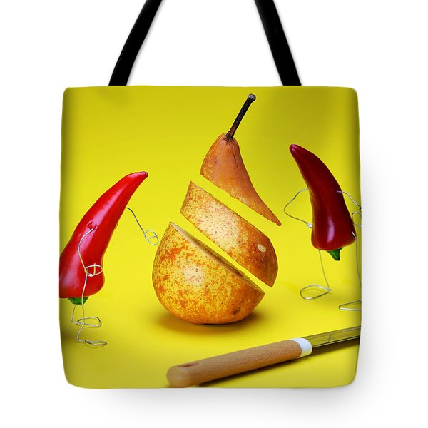 Red Peppers Sliced A Pear Tote Bag by Paul Ge