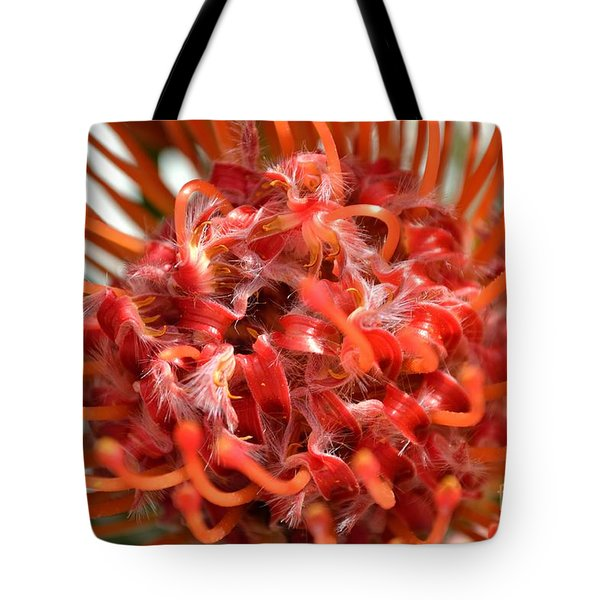 Red Pincushion Close Up Tote Bag by Scott Lyons
