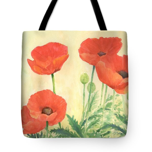 Red Poppies 3 Colorful Watercolor Poppy Floral Original Art Flowers Garden Artist K. Joann Russell Tote Bag
