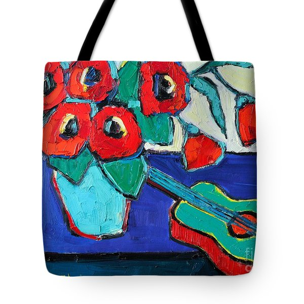 Red Poppies And Guitar  Tote Bag by Ana Maria Edulescu