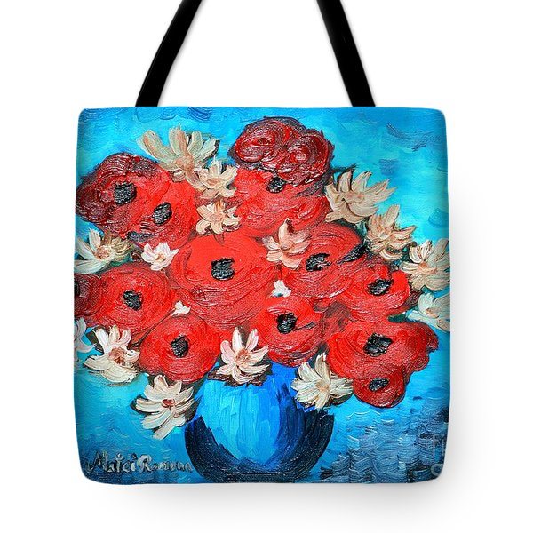 Red Poppies And White Daisies Tote Bag