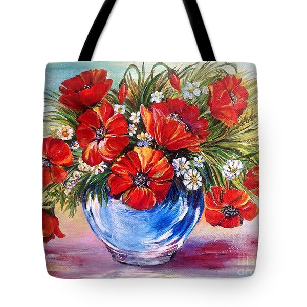 Red Poppies In Blue Vase Tote Bag by Iya Carson