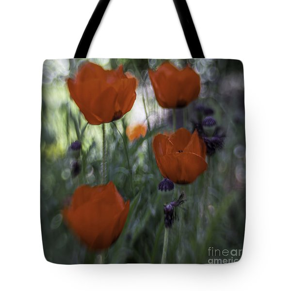 Red Poppies Tote Bag by Jean OKeeffe Macro Abundance Art