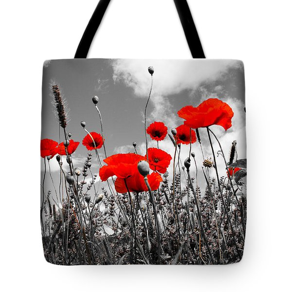 Red Poppies On Black And White Background Tote Bag by Dany Lison