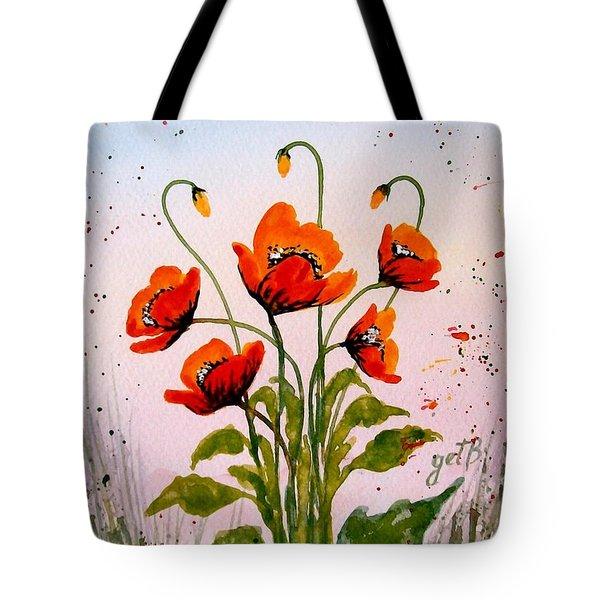 Red Poppies Original Watercolor  Tote Bag