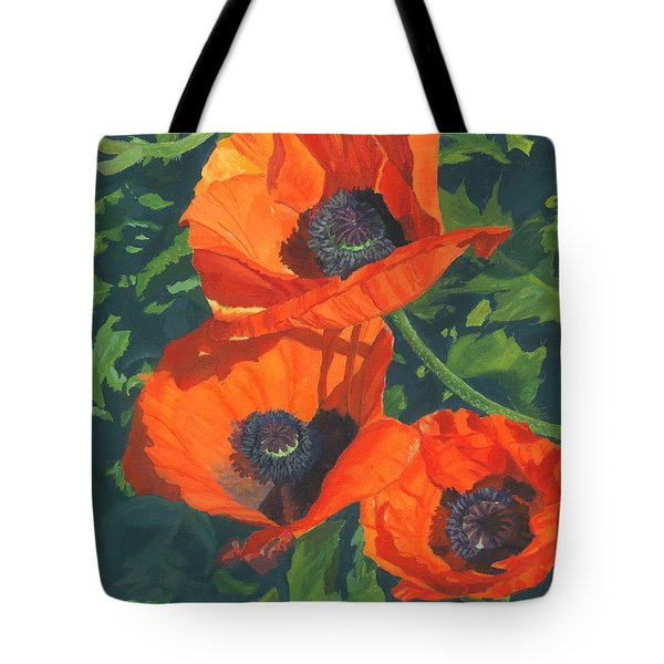 Tote Bag featuring the painting Red Poppies Three by Lynne Reichhart