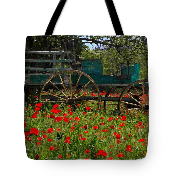 Red Poppies With Wagon Tote Bag