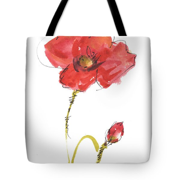 Red Poppy And Bud Tote Bag