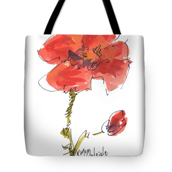 Red Poppy And Pal Tote Bag