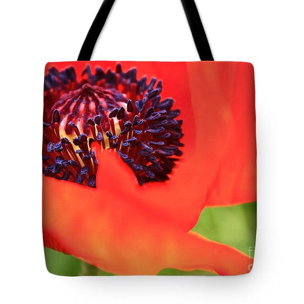 Red Poppy Tote Bag by Linda Bianic
