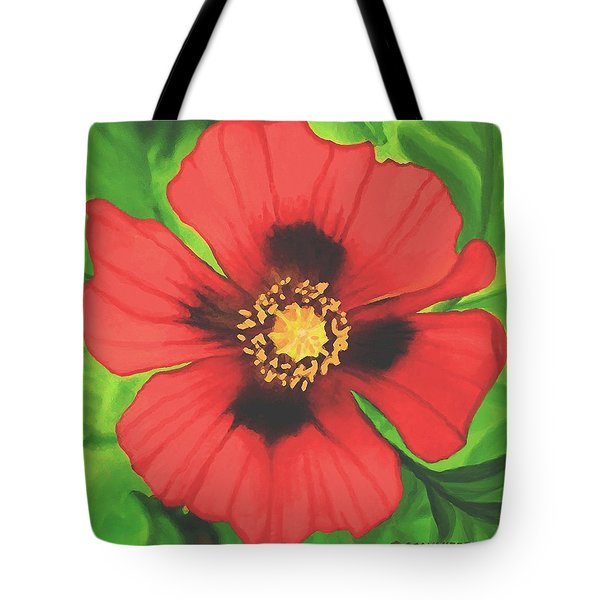 Tote Bag featuring the painting Red Poppy by Sophia Schmierer