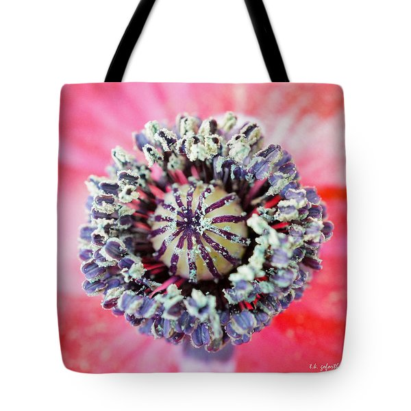 Red Poppy Squared Tote Bag by TK Goforth
