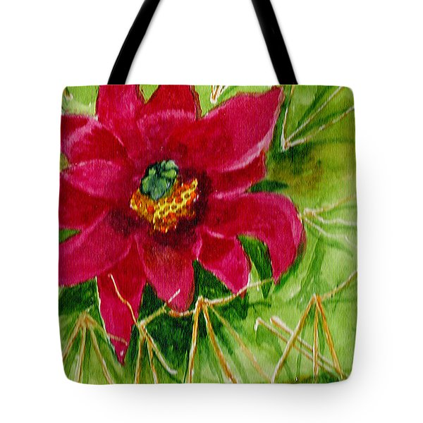 Tote Bag featuring the painting Red Prickly Pear by Eric Samuelson