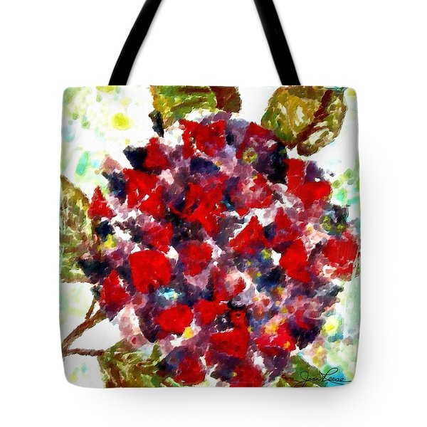 Tote Bag featuring the painting Red Purple Flower by Joan Reese