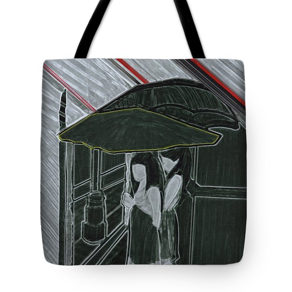 Red Rain Tote Bag by First Star Art