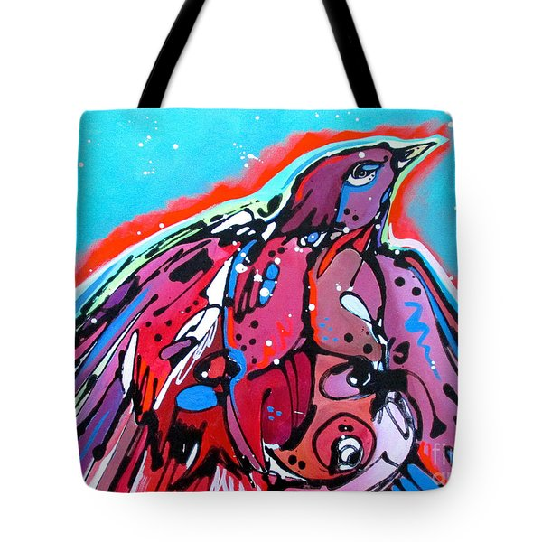 Tote Bag featuring the painting Red Raven by Nicole Gaitan