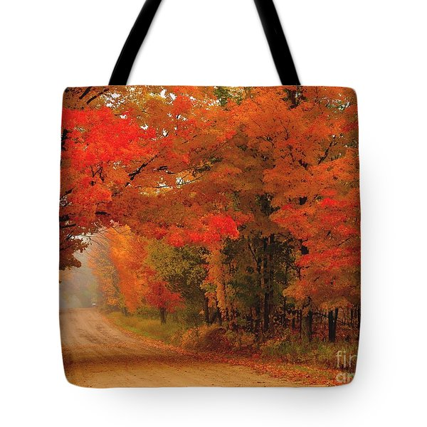Red Red Autumn Tote Bag by Terri Gostola
