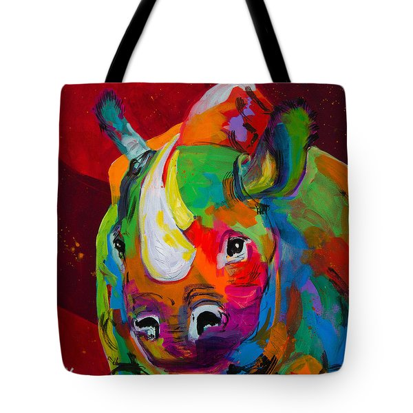 Red Rhino Tote Bag by Tracy Miller