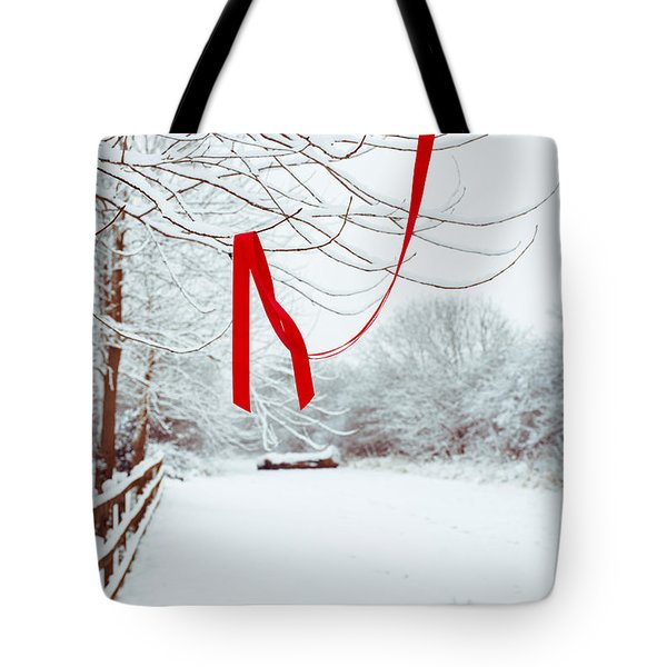 Red Ribbon In Tree Tote Bag