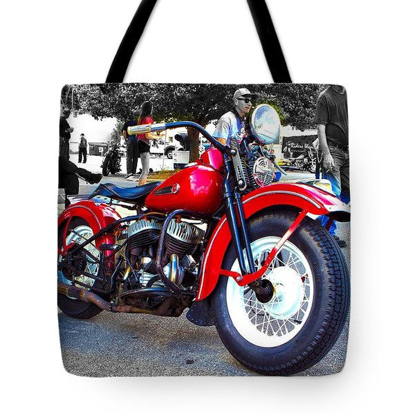 Red Rider On Black Tote Bag
