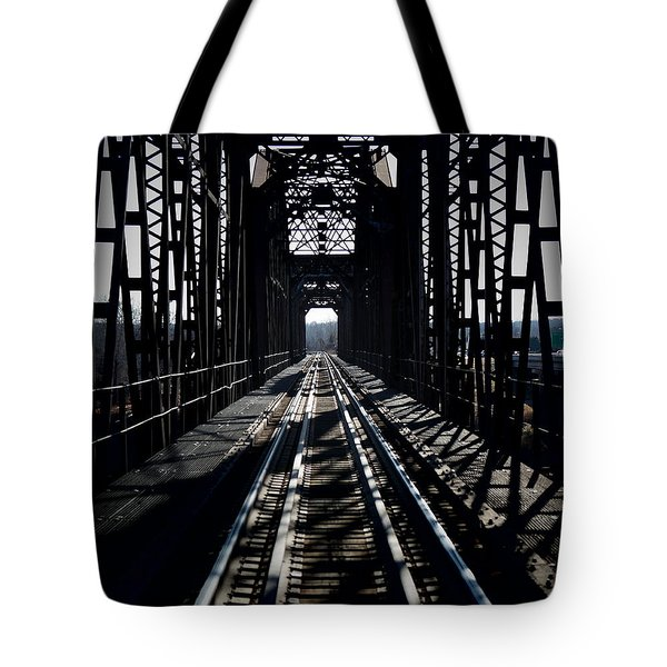 Tote Bag featuring the photograph Red River Rail Road Crossing by Diana Mary Sharpton