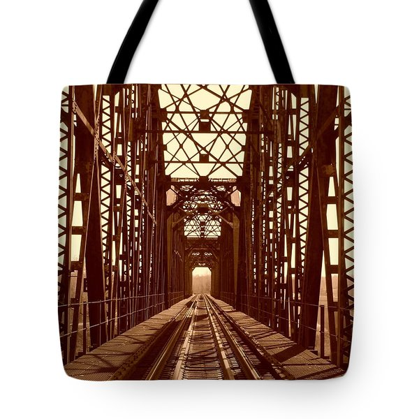 Tote Bag featuring the photograph Red River Train Bridge #1 by Robert ONeil