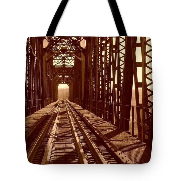 Tote Bag featuring the photograph Red River Train Bridge #2 by Robert ONeil