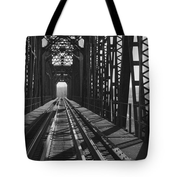 Tote Bag featuring the photograph Red River Train Bridge #3 by Robert ONeil